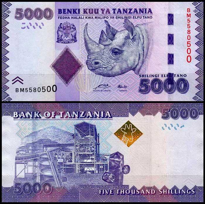 5000 шиллингов в Танзании