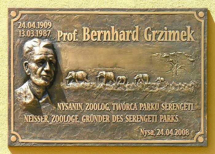 Памятная дощечка Бернгарда Гржимекова